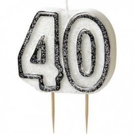 Vela 40 cumpleaños en blanco y negro. velas baratas online