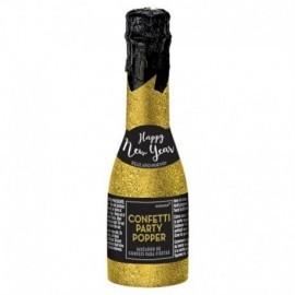 Botella de champan cañon de confeti metalico de 16 cm