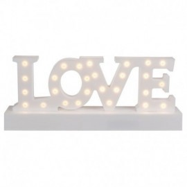 Letrero love en plastico blanco con 27 luces led 30x12 cm