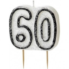 Vela 60 cumpleaños negra para tarta gliter