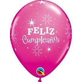 Globo feliz cumpleaños rosa qualatex unidad