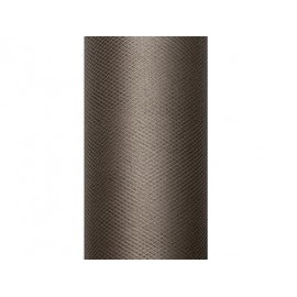 Tul marron chocolate rollo de 9 mt x 15 cm para decoraciones