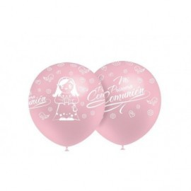 Globos mi 1ª comunion rosa 8 uds 12 32 cm