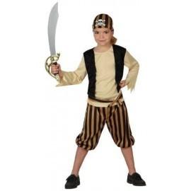 Disfraz de pirata beige para niño talla 5 a 6 años