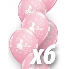 Globo mi bautizo para niña rosa 6 uds qualatex 30cm