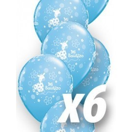 Globo mi bautizo para niño azul 6 uds qualatex 30 cm