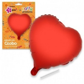 Globo corazon rojo de 49 x46 cm helio o aire