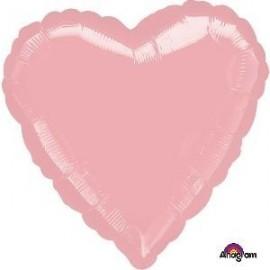 Globo corazon rosa metalico para helio o aire 45 cm