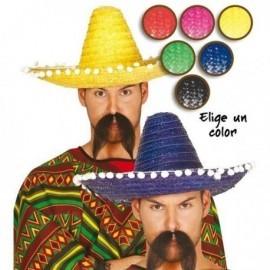 Sombrero mexicano paja 45 cm colores mejicano