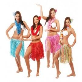 Conjunto hawaiano flor collar falda varios colores