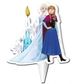 Vela Frozen figura Elsa y Anna de 7,5 cm para tarta de cumpleaños