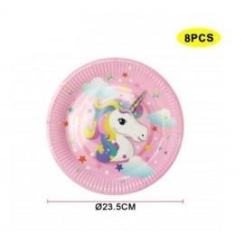 Platos unicornio rosa 8 uds de 23 cm