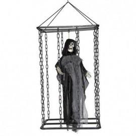 Fantasma gris en jaula con luz 70 cm