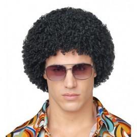 Peluca afro negra rizo pequeño disco años 70