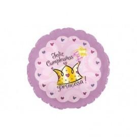 "Globo feliz cumpleaños princesa rosa 18"" 45 cm"
