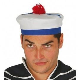 Gorro marinero con pom pom rojo adulto