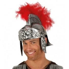 Casco soldado romano plateado con pluma roja