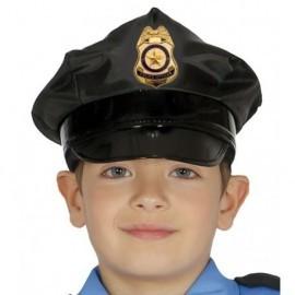 Gorra policia infantil negra para niño o niña