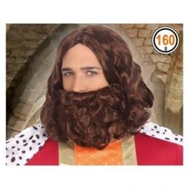 Peluca castaña con barba rey Gaspar