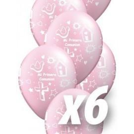 Globo barato simbolos comunion niña rosa español 6 uds 30 cm qualatex