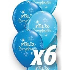 Globo baratos Feliz cumpleaños qualatex azules 6 uds 30 cm