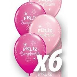 Globo baratos Feliz cumpleaños qualatex rosas 6 uds 30 cm
