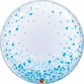 "Globo barato Burbuja transparente confeti azul Qualatex 24"""