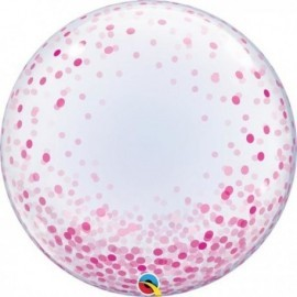 "Globo barato Burbuja transparente confeti rosa Qualatex 24"""