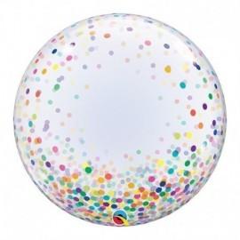 """Globo barato Burbuja transparente confeti multicolor Qualatex 24"""""""