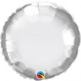 Globo barato redondo Chrome plata Qualatex 45 cm unidad