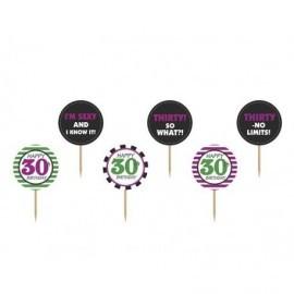 Toppers para cupcake 30 cumpleaños pinchos 9,2 cm 6 uds