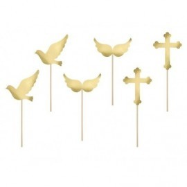 Toppers para cupcake comunion pinchos 11 cm 6 uds