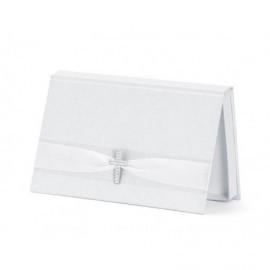 Caja regalo billetes primera comunion blanco 15,5x9,5 cm