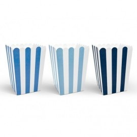 Cajitas decorativas para palomitas azules 6 uds