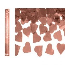 Cañon de confeti corazones rosa dorado 60 cm