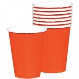 Vasos naranjas de carton 8 unidades 266 ml