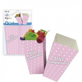 Cajitas palomitas feliz cumpleaños rosa 3 uds