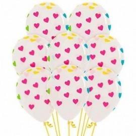 Globo baratos transparentes con corazones colores 12 uds 30 cm