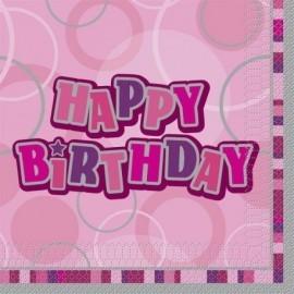 Servilletas cumpleaños rosa brillante 16 uds