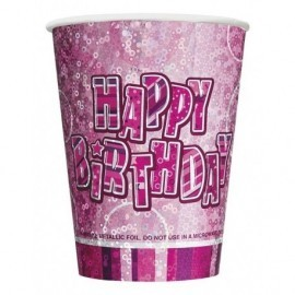 Vasos rosas cumpleaños 8 uds