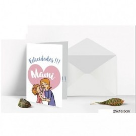 Tarjeta Felicidades Mami 25x18,5 cm