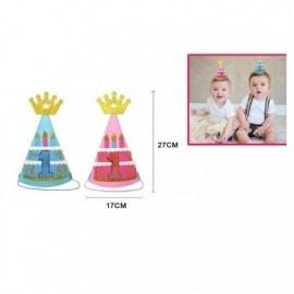 Gorro primer cumpleaños rosa o azul 17x27 cm unidad