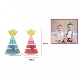 Gorro segundo cumpleaños rosa o azul 17x27 cm unidad