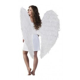Alas blancas plumas gigantes 120x120 cm