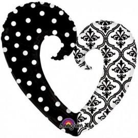 Globo corazon xl negro 76 cm x 81 cm puntos
