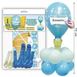 Kit centro de primera comunion niño mesa globos