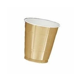 Vasos plastico dorados oro 10 unidades 355 ml