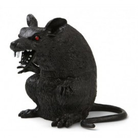 Rata negra 22 cm decoracion halloween
