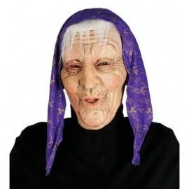 Careta vieja anciana con pelo y pañuelo mascara bruja