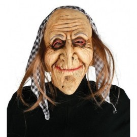 Careta bruja vieja con pelo y pañuelo mascara cara